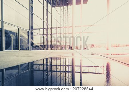 Modern Architecture, Building Exterior - Abstract Cityscape With Window And Water Reflection