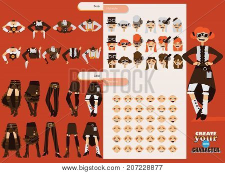 Vector set collection for creation cute female steampunk character. Young girl with various emotions clothes style and accessories.