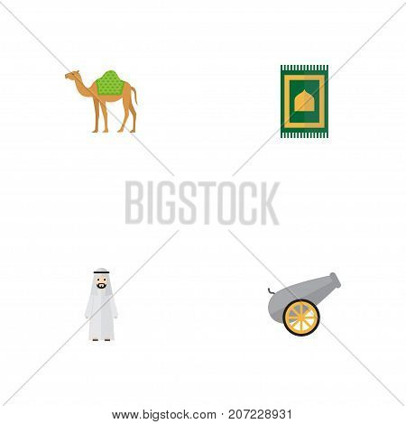Flat Icons Prayer Carpet, Artillery, Dromedary And Other Vector Elements
