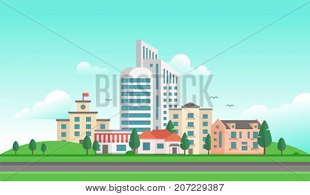 Urban landscape with a road - modern vector illustration. Lovely city with skyscrapers and small low storey buildings and houses, town hall with a flag, trees, clouds and birds in the sky