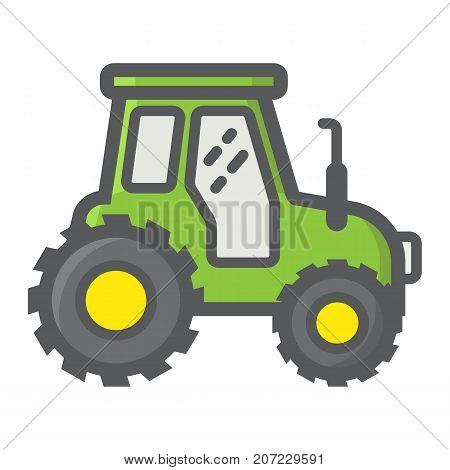 Tractor filled outline icon, transport and vehicle, agriculture sign vector graphics, a colorful line pattern on a white background, eps 10.