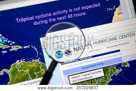 MONTREAL CANADA - OCTOBER 2 2017: Web page of National Hurricane Center. The National Hurricane Center is co-located with the National Weather Service Miami-South Florida Weather Forecast Office
