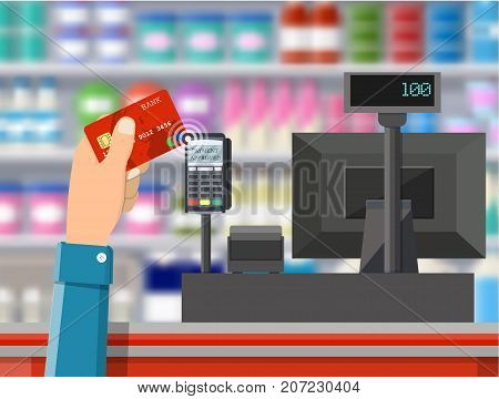 Pos terminal confirms payment by bank card. Supermarket interior. Cashier counter workplace. Shelves with products. Cash register and keypad. Vector illustration in flat style