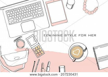 Vector illustration of Hand drawn, doodle flat lay coordination. Feminine clothes collage. Women trendy fashion. Top views. Template for blogger, social media
