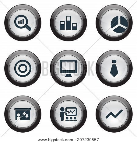 Elements Training, Presentation, Reload And Other Synonyms Report, Monitor And Seminar.  Vector Illustration Set Of Simple Training Icons.
