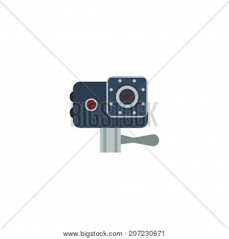 Flat Icon Action Cam Element. Vector Illustration Of Flat Icon Camera Isolated On Clean Background