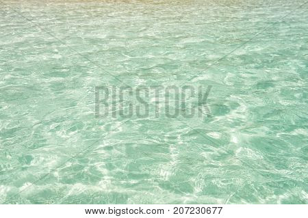 Sea or ocean water surface on crystal clear background in Costa Maya Mexico. Environment and ecology concept. Freshness and purity. Summer vacation and holidays. Travel and adventure