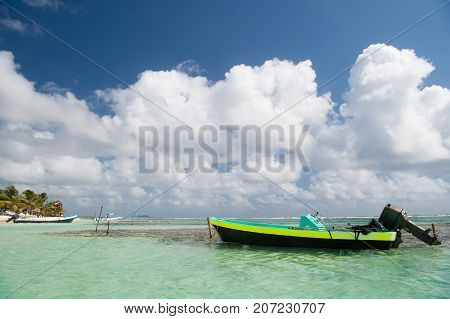 Motor Boat On Sea Shore In Costa Maya, Mexico