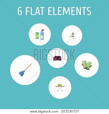 Flat Icons Housekeeping, Gauntlet, Besom And Other Vector Elements