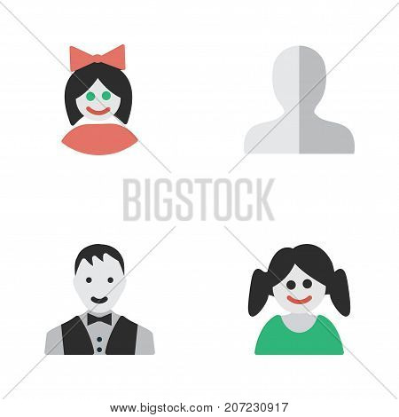 Elements Male, Girl, Female And Other Synonyms Male, Girl And Profile.  Vector Illustration Set Of Simple Avatar Icons.