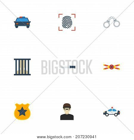 Flat Icons Bayonet, Jail, Thief And Other Vector Elements