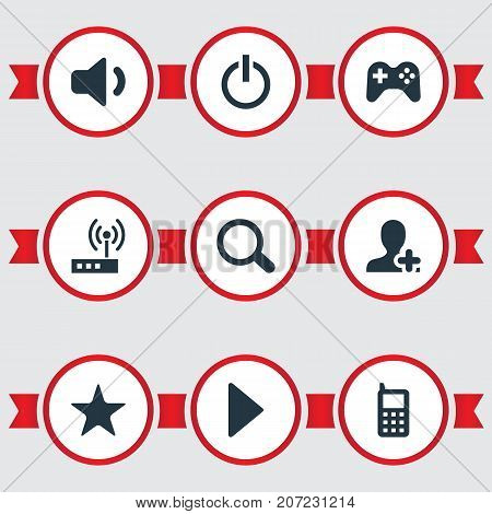 Elements Switch Button, Mobile, User And Other Synonyms Game, Joypad And Quiet.  Vector Illustration Set Of Simple Computer Icons.