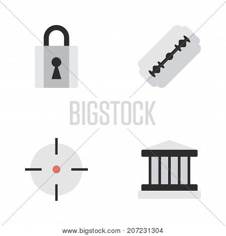 Elements Grille, Target, Blade And Other Synonyms Shaver, Padlock And Target.  Vector Illustration Set Of Simple Criminal Icons.