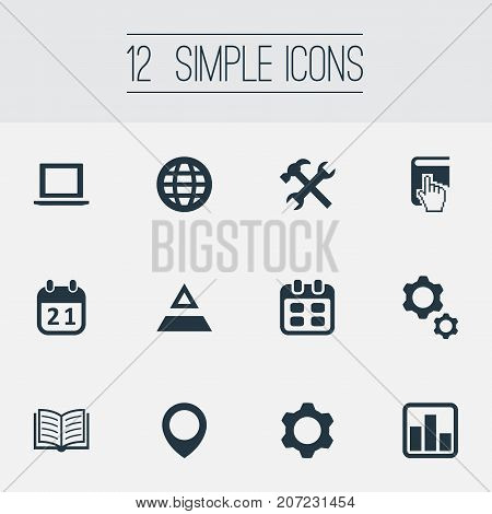 Elements Agenda, Magazine, Date And Other Synonyms Earth, Gear And Repair.  Vector Illustration Set Of Simple Startup Icons.