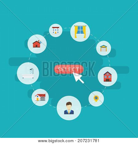 Flat Icons Hypothec, Home, Depot And Other Vector Elements