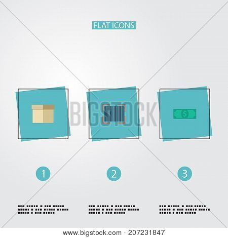 Flat Icons Qr, Case, Cash And Other Vector Elements