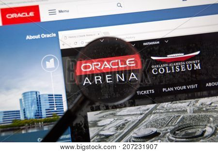 MONTREAL CANADA - OCTOBER 2 2017: Oracle Arena web page. Oracle Arena is an indoor arena located in Oakland California United States and is the home of the Golden State Warriors