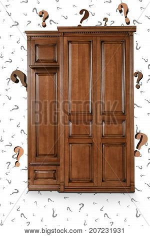 Brown wooden Cabinet on the background of numerous issues. The question marks in the background and around Cabinet