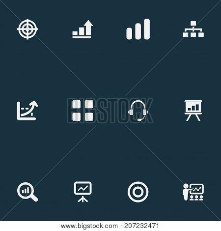 Elements Increase, Goal, Canvas And Other Synonyms Canvas, Training And Seminar.  Vector Illustration Set Of Simple Seminar Icons.