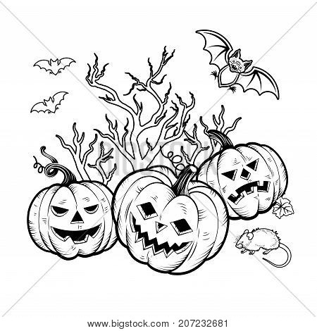 Set of Halloween Characters pumpkins, witches silhouette, bats, cauldron, spiders and web, cat with violin, evil-boding trees, zombie hand, headstones, crow owl mouses poster