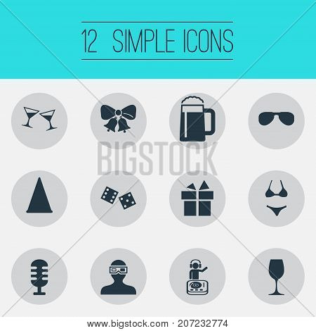 Elements Spectacles, Mic, Dj And Other Synonyms Mug, Glasses And Summer.  Vector Illustration Set Of Simple Banquet Icons.