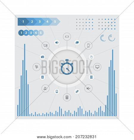 Elements Smartphone, Hardware, Stopwatch And Other Synonyms Cursor, Mobile And Speaker.  Vector Illustration Set Of Simple Hardware Icons.