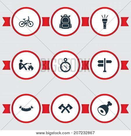 Elements Chronometr, Bicycle, Barbecue And Other Synonyms Crossed, Street And Trip.  Vector Illustration Set Of Simple Camp Icons.