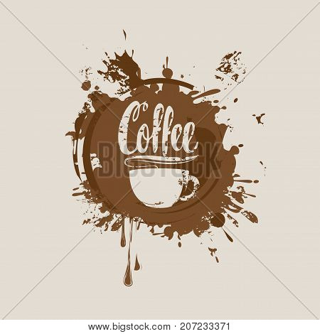 Vector banner with cup of hot coffee and the inscription on the background of coffee stains and splashes