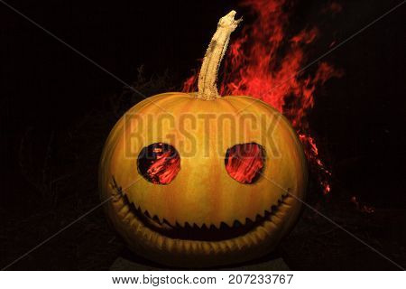 Halloween symbol and fire behind , Halloween, fear and aggression