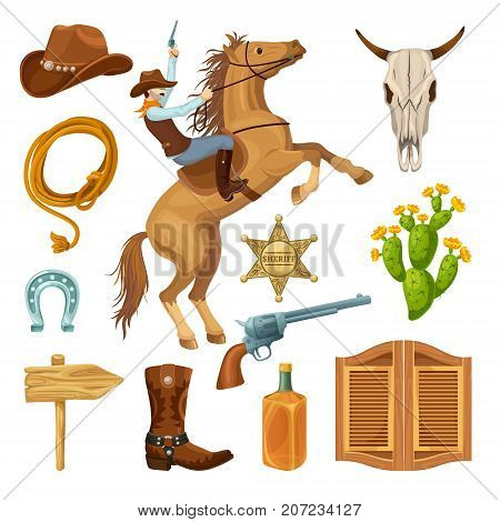 Colorful wild west elements set with cowboy equipment bull skull sheriff star signboard cactus saloon door isolated vector illustration