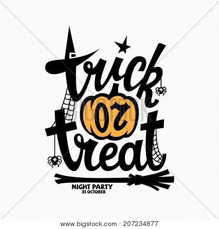 Trick or treat lettering with a pumpkin for halloween party invitation poster banner card. Vector illustration.