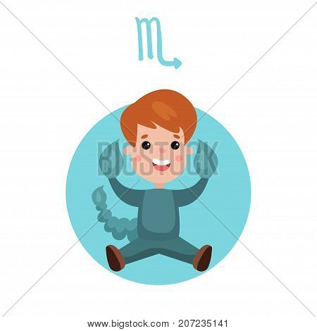 Cute little boy as Scorpio astrological sign, horoscope zodiac character colorful cartoon vector Illustration on a white background