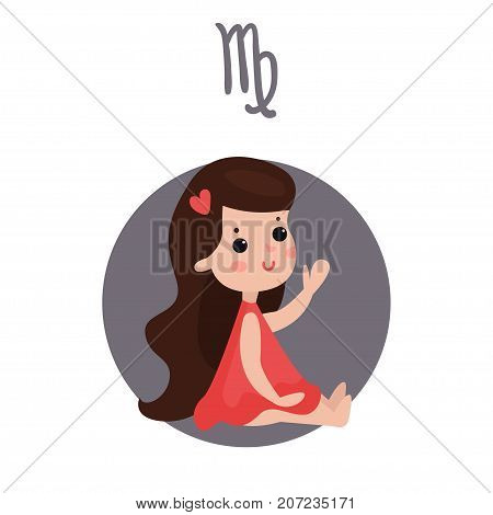 Cute little girl as Virgo astrological sign, horoscope zodiac character colorful cartoon vector Illustration on a white background