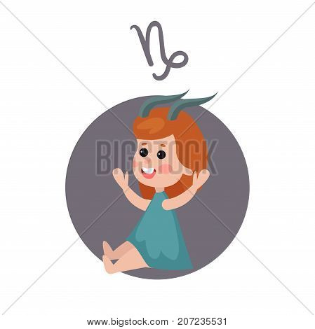 Cute little girl as Capricorn astrological sign, horoscope zodiac character colorful cartoon vector Illustration on a white background