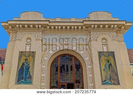 ALBA IULIA ROMANIA - APRIL 29 2017: Facade with details of Union Hall building located in the old town center of Alba Carolina Citadel. Transylvania.