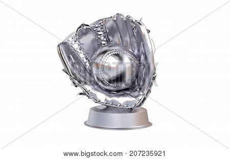 3D illustration of Baseball Silver Trophy with a white background