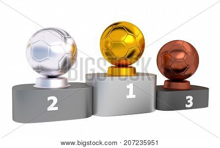 3D illustration of Handball Podium with Gold Silver and Bronze Trophy with a white background