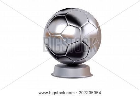 3D illustration of Handball Silver Trophy with a white background
