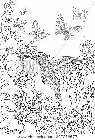 Coloring page of hummingbird butterflies and hibiscus flowers. Freehand sketch drawing for adult antistress coloring book in zentangle style.