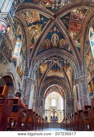 Galatina Italy - August 15, 2017. Nave of Basilica di Santa Caterina di Alessandria, St Catherine. Galatina, Puglia, Italy.
