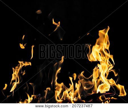flame fire on black background . Photo of abstract background