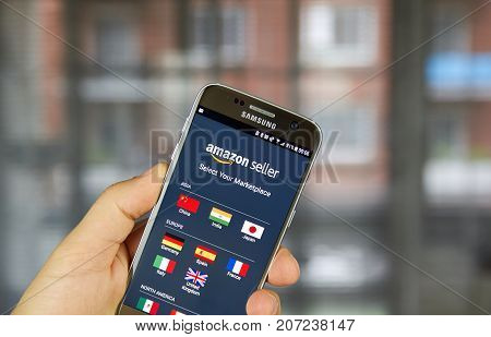 MONTREAL CANADA - SEPTEMBER 29 2017: Amazon Seller app on Samsung S7. Amazon Seller is a well-known platform for selling goods on the amazon.com marketplace.