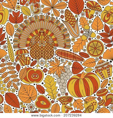 Thanksgiving day seamless pattern. Various elements for design