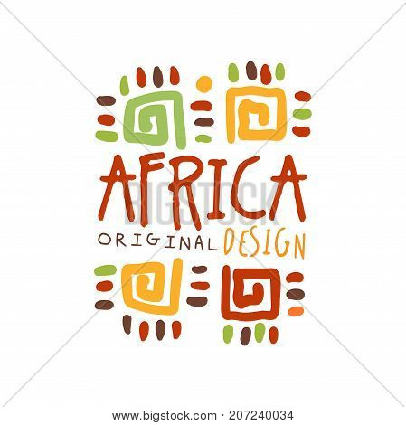 Original african tribal ornamental doodle. Travel logo. Colorful scribble vector illustration isolated on white background. Decoration ornament for card, poster, children t-shirt design, business.