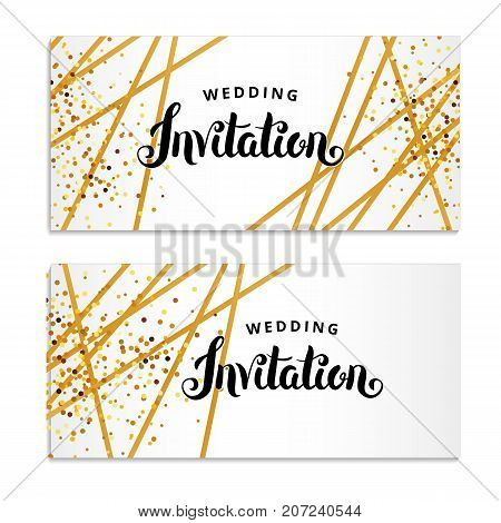 Gold Line Invitation. You are invited, Hand drawing lettering. gold glitter invitation. Gold sparkles Print inscription, ribbons