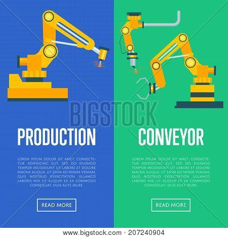 Modern production line concept. Industrial engineering systems, mechanical conveyor, manufacturing process. Factory equipment, smart robotic assembly line vector illustration.