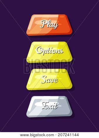 Computer game menu navigation objects collection. Play, save, options and exit cartoon buttons. Bright user design set, app graphical user menu interface isolated vector illustration.