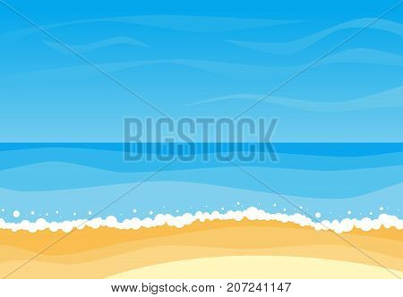 Vector landscape with summer beach. Waves of the sandy beach blue sky and sea. Landscape vector illustration.