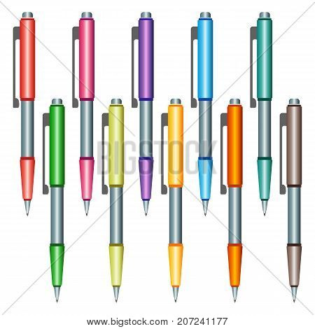 Set of multi-colored pens on a white background. Vector illustration.