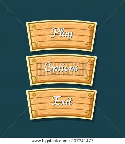 App graphical user interface cartoon collection. Play, options and exit original buttons. Bright user design set, computer game menu, navigation objects isolated vector illustration.